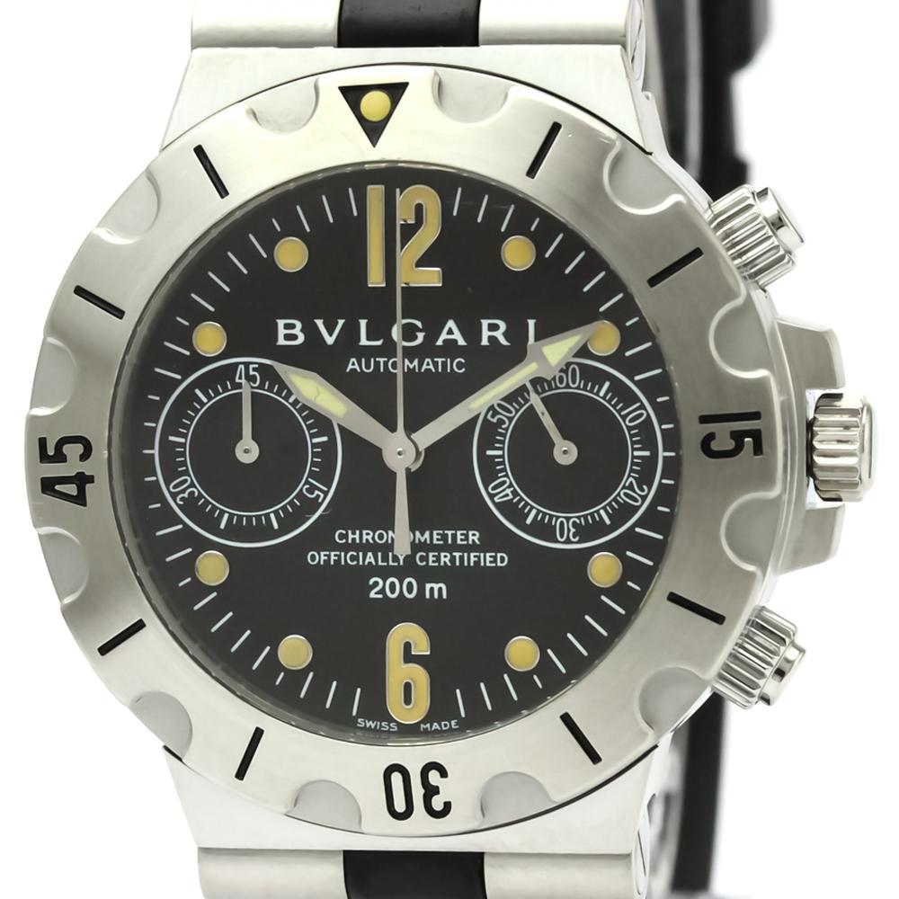 【BVLGARI】ブルガリ ディアゴノ スクーバ クロノグラフ ステンレススチール ラバー 自動巻き メンズ 時計 SCB38S