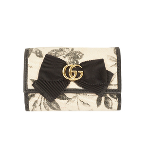 Auth Gucci Key Case GG Ribbon 435818 Canvas  Black,Ivory