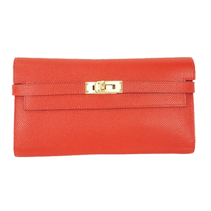Auth Hermes Long Wallet Kelly Wallet T Stamp Mark Epsom Ruby