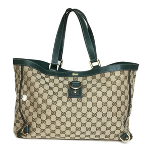 Auth Gucci GG Canvas 141472 Tote Bag GG Beige,Green