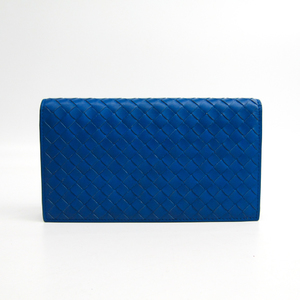 Bottega Veneta Intrecciato 316005 Men's Leather Long Wallet (bi-fold) Blue