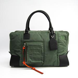 Loewe Amazona 44 312.51.N04 Women's Nylon,Leather Handbag Black,Khaki