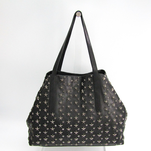 Jimmy Choo Pimlico S Men's Leather Studded Tote Bag Black