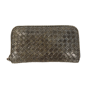 Auth BOTTEGA VENETA Long Wallet Intrecciato Python Blue,Gray