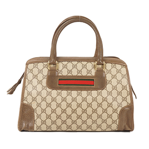 Auth Gucci Hand Bag Sherry Line GG Supreme Beige Gold
