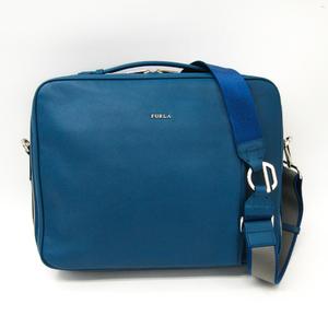 Furla ARGO Men's Leather Backpack,Briefcase,Shoulder Bag Blue