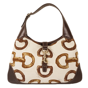 Auth Gucci Shoulder Bag Horsebit Brown Silver hardware