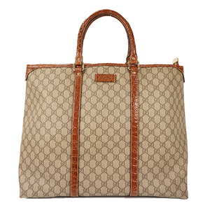 Auth Gucci Boston Bag GG Supreme Beige,Brown