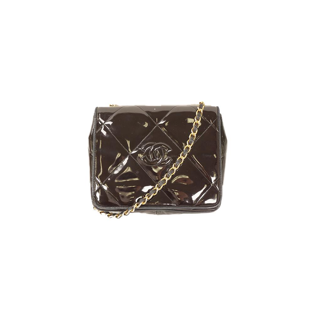 f5c46185c5f7 Auth Chanel Matelasse Chain Shoulder Bag Patent Leather Black