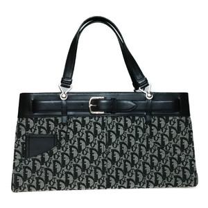Auth Christian Dior 14BM-1002 Trotter Canvas Leather Handbag Black