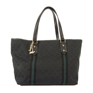 Auth Gucci Tote bag GG Canvas Black Silver hardware