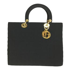 Auth Christian Dior Canage/Lady Dior Quilting Handbag Black