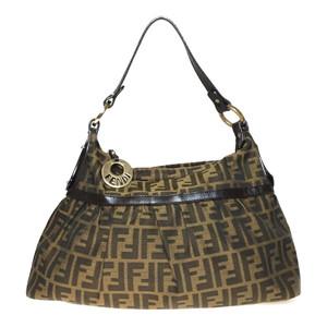 Auth Fendi Zucca 8BR448 Handbag Brown
