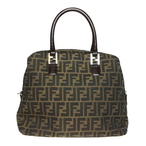 Auth Fendi Zucca Canvas Leather Handbag Brown