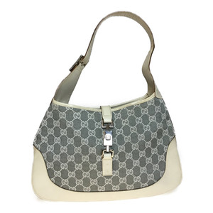 Auth Gucci Jackie GG Canvas 0013306 Leather Handbag Gray,White