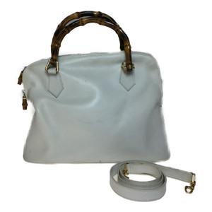 Auth Gucci Bamboo 000 406 0289 2WAY Shoulder Bag Handbag White