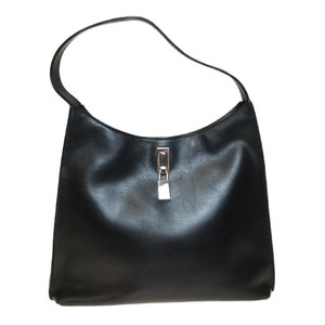 Auth Gucci 001-3121 Leather Handbag Black