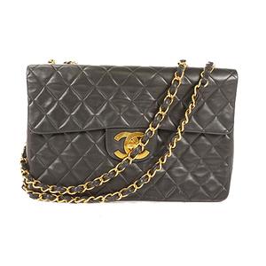 シャネル(Chanel) マトラッセ デカマトラッセ チェーンショルダーバッグ Wチェーン Big Matelasse Chain Shoulder bag W Chain レディース レザー ショルダーバッグ ブラック