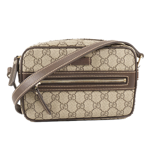 Auth Gucci Shoulder Bag GG Supreme  Brown