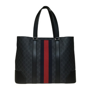 Auth Gucci 495560 GG Supreme Tote Bag Leather