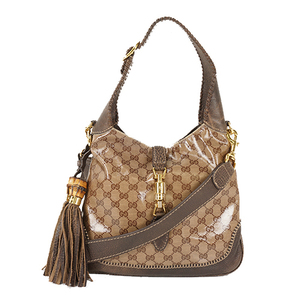 Auth Gucci Shoulder Bag Jackie Beige Gold