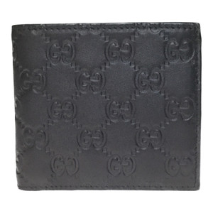 Auth Gucci Guccissima 146223 Leather Wallet (bi-fold) Black