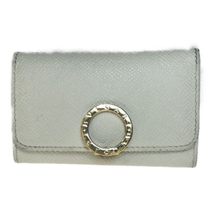 Auth Bvlgari 283437 Leather Key Case White