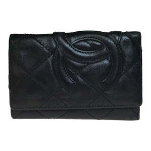 Auth Chanel Cambon A26723 Leather Key Case Black Lamb Skin