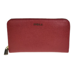 Auth Furla ラウンドジップ Leather Long Wallet (bi-fold) Red BABYLON