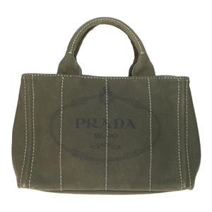 【中古】プラダ(Prada) カナパ B2439G レディース キャンバス ハンドバッグ トートバッグ カーキ