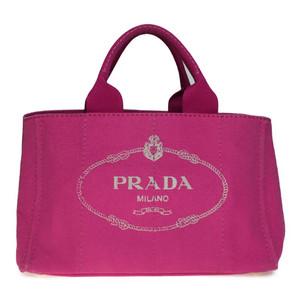 プラダ(Prada) カナパ Mサイズ キャンバス ハンドバッグ ピンク