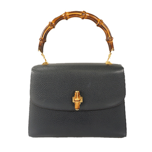 Auth Gucci Bamboo Hand Bag Navy