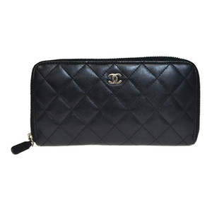 Auth Chanel Matelasse A50097 Leather Long Bill Wallet (bi-fold) Black Lamb Skin