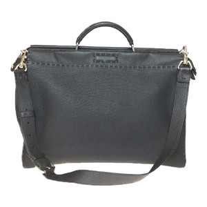 Auth Fendi Selleria 7VA388 PeekaBoo Leather Briefcase Black