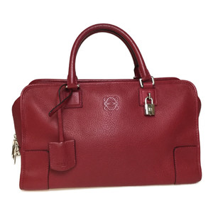 Auth Loewe 352.35.A22 Amazona36 Leather Handbag Red