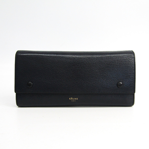 Celine Large Flap Multifunction 101673TAA.07OC Women's Leather Long Wallet (bi-fold) Navy