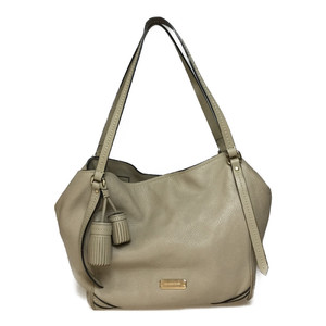 Auth Burberry Tassel Leather Handbag Beige