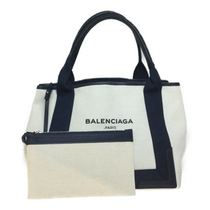 Auth Balenciaga Navy Cabas S 339936 Unisex Leather,Canvas Tote Bag Navy,Ivory