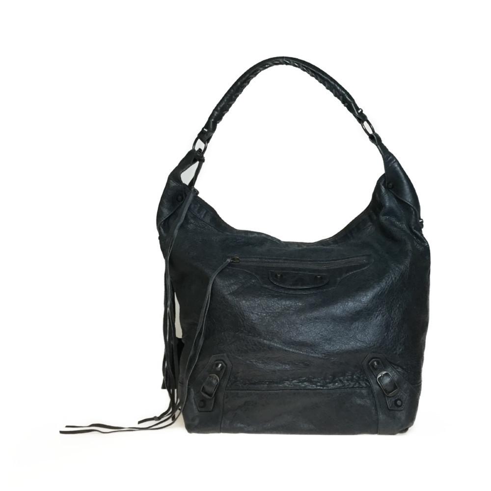 Auth Balenciaga 292954 1202 Leather Shoulder Bag Gray Khaki