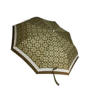コーチ(Coach) シグネチャー ポリエステル 雨傘 ベージュ ブラウン 折りたたみ傘