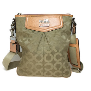 Auth Coach 43430 Canvas,Leather Pochette,Shoulder Bag Beige,Pink Beige