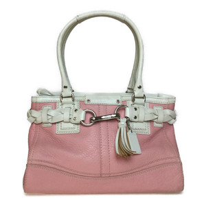 Auth Coach F13084 Leather Handbag Pink,White