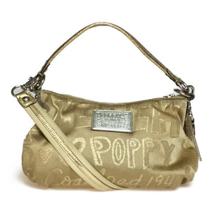 Auth Coach Poppy Patch Grouby 15302 Handbag,Shoulder Bag Gold