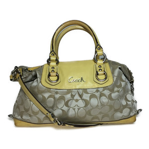 Auth Coach Signature F15443 Women's Handbag,Shoulder Bag Yellow Beige