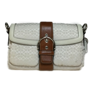 Auth Coach Mini Signature Shoulder Bag Beige,Brown
