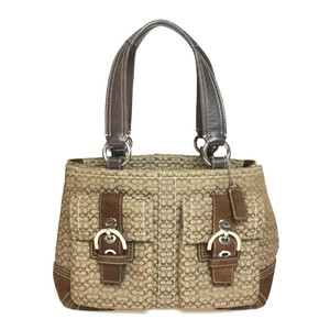 Auth Coach Mini Signature ソーホー Soho 3646 Handbag Brown,Dark Brown