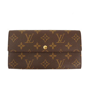 Auth Louis Vuitton Long Wallet Monogram Pochette Porto Monet Credit M61725