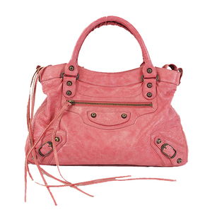 Auth Balenciaga Hand Bag City Leather Pink