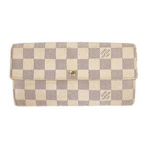 Auth Louis Vuitton Long Wallet Damier Azur Portefeuille Sarah N61735