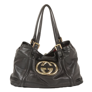 Auth Gucci Tote Bag 162094 Black Silver